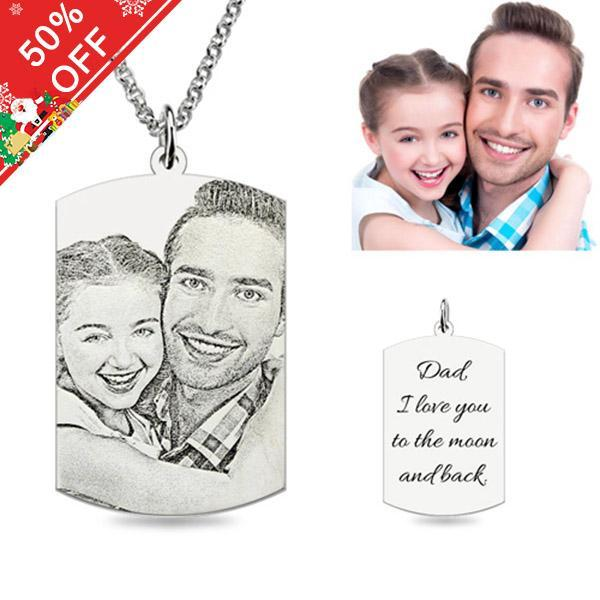 Personalized Photo Necklace Sterling Silver Rectangle