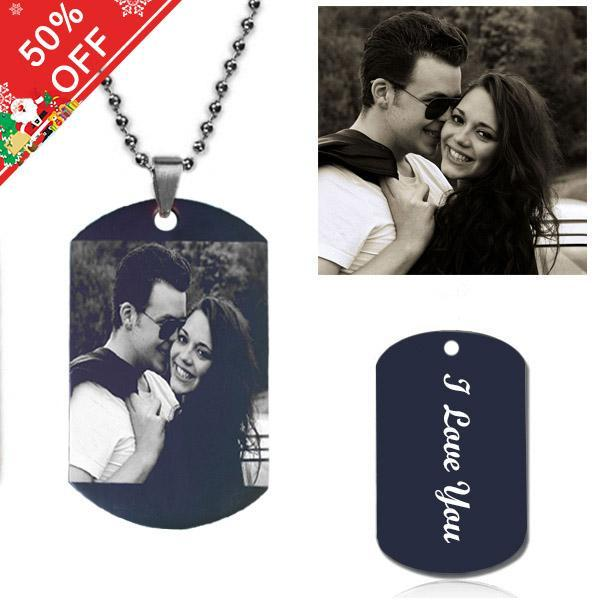 Personalized Photo Necklace Titanium Steel - Black Style