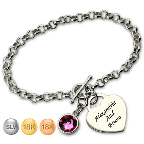 Heart Bracelet For Her with Birthstone