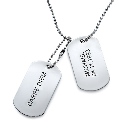 Engraved Dog Tags photo Necklace