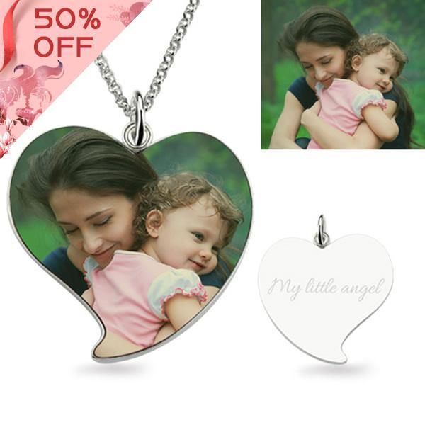 Full Color - Photo Necklace In Sterling Silver Heart Shape