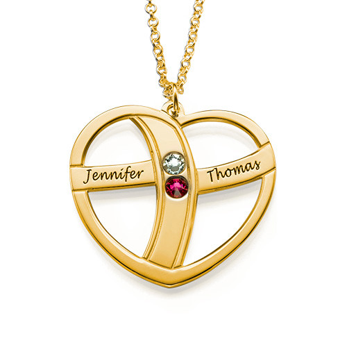 Heart Name Necklace with Birthstones