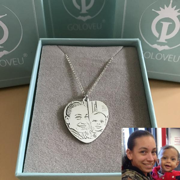 Customize Heart Photo Necklace Sterling Silver