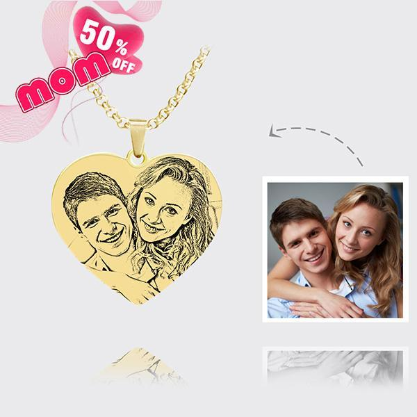 Personalized Photo Heart Necklace 18K Gold Plating