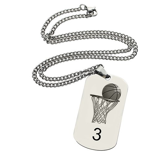 Basketball Dog Tag Name Necklace