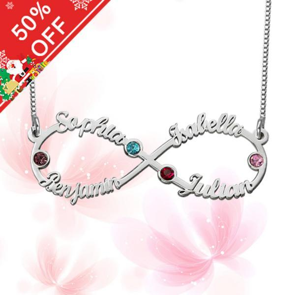 Infinity 4 Names Necklace with Birthstones