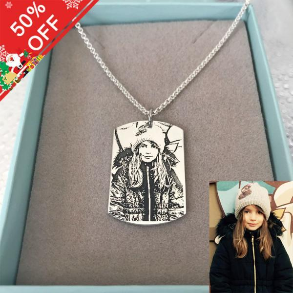 Customize Photo Necklace Sterling Silver Square